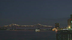 French Quarter River with Greater New Orleans Bridge - 01 Stock Footage