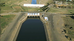 Aerial View of Hydro-electric Dam Stock Footage