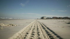 Beach Tire Track RACK Stock Footage