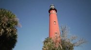 Stock Video Footage of Red Lighthouse Low