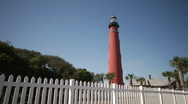 Stock Video Footage of Red Lighthouse WIDE
