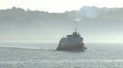 Ferry across the river in the fog  Stock Footage