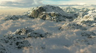 (1054) Snow Mountains Clouds Winter Wilderness Climbing Peaks Stock Footage