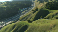 Aerial view of freeway traffic  - stock footage