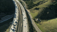 Stock Video Footage of Aerial view of freeway traffic