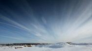 Cloudscape time lapse on winter desert Stock Footage