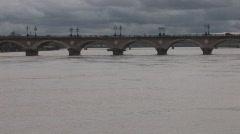 Stone Bridge (Pont de pierre) in Bordeaux, France Stock Footage