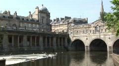 Bath City Pulteney Weir WS Stock Footage