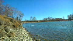 Water and rocks bow river calgary alberta canada Stock Footage