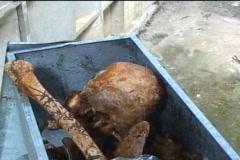 Skull, bones, voodoo markings in human bone 11/12 Stock Footage