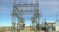 Electric power transfer transformer station various shots Stock Footage