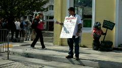 Man on Street Preaching Word of God - stock footage