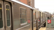 Stock Video Footage of Subway Train Departing from Station