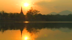 SUNSET ANCIENT TEMPLE Sukhothai Historical Park, Thailand Stock Footage