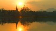 Stock Video Footage of SUNSET ANCIENT TEMPLE Sukhothai Historical Park, Thailand