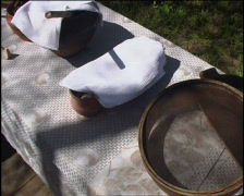 table full of russian village utensils - stock footage