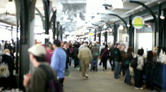 People Shopping at market back focus Stock Footage