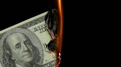 Dollars burn 02 Stock Footage