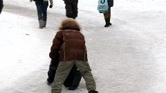 Boys on skating-rink Stock Footage