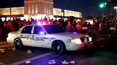 Slidell Police Car sitting in Endymion parade Stock Footage