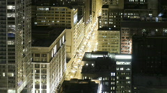 Zoom Out Time Lapse of Downtown Chicago at Night - stock footage