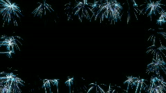 Loopable Blue Fireworks Frame over black Stock Footage