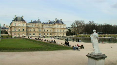 Wide shot, Time laps,  Palais Du Luxembourg, tourists passing Stock Footage