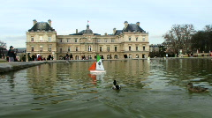 WS Luxembourg Palace with pond in foreground, Paris, France Stock Footage