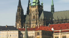 Zoom out on St Vitus's Cathedral, Prague, Czech Republic Stock Footage