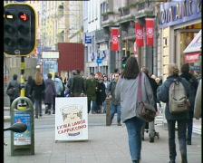 People walking in Antwerp city - stock footage
