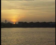 Sunset in old Port of Antwerp Stock Footage