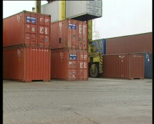 Container traffic in Port of Antwerp Stock Footage