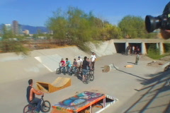BMX Riders in a line - stock footage