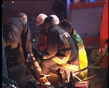 Evacuation victim of car crash Stock Footage