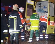 Paramedics at the scene of an accident - stock footage