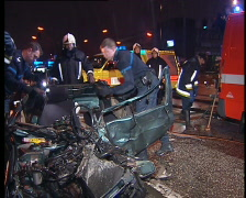 Car wreckage after crash - stock footage