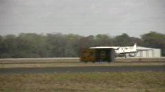 Propeller airplane landing Stock Footage