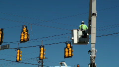 Traffic Light Signal Repair - stock footage