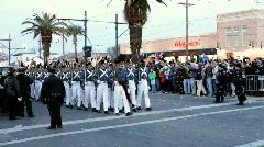 Soliers marching in Endymion parade Stock Footage