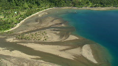 Stock Video Footage of Aerial of a river outlet revealing the perfect blue sea and the tropical forest