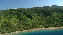 Aerial of tropical coastline with rain forest, mangrove and beach Stock Footage