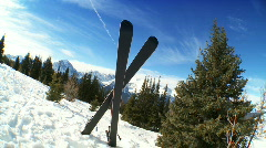 Carver Downhill Skis & Poles Stock Footage