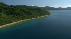 Aerial along tropic coastline on a clear day Stock Footage