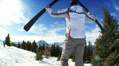 Female Skiing Success Stock Footage