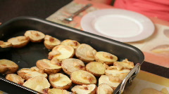 Baked potato with fat. Stock Footage