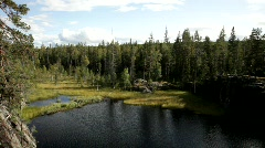 Lake in Sweden, surrounded by forests, on a fine summer day. - stock footage