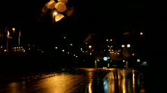 Driving through a Swedish city and on a highway on a rainy night. Stock Footage