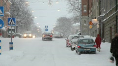 Driving through a Swedish city on a snowy day. Stock Footage