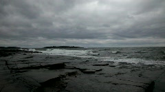 An autumn storm drives waves against the coast Stock Footage