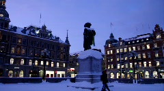 Statue of Gustav II Adolf in Sundsvall in Sweden Stock Footage